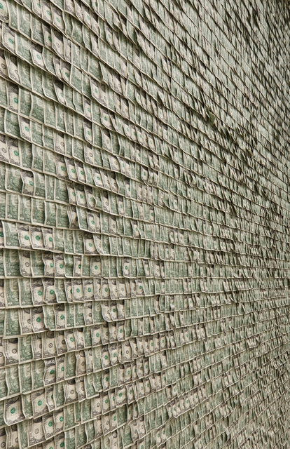 $100,000 in Dollar Bills on the Walls of the Guggenheim Museum by Hans-Peter Feldmann